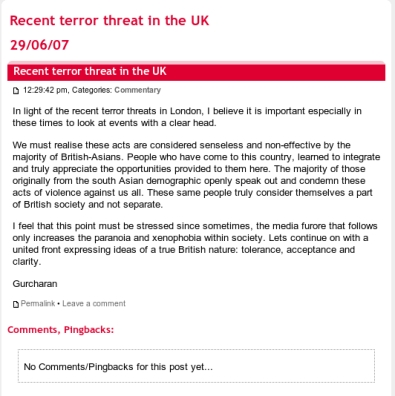 Recentterrorthreatintheuk