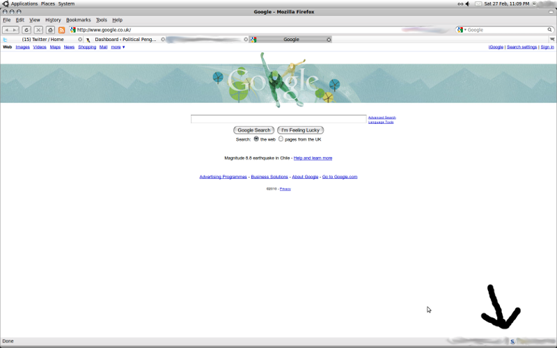 screenshot of firefox with no script add on