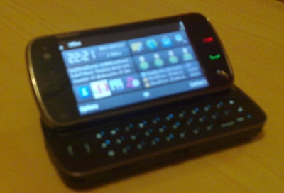 Nokia N97 on table with slider out